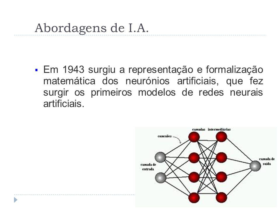 Abordagens de I.A. Em 1943 surgiu a representação e formalização matemática dos neurónios artificiais, que fez surgir os primeiros modelos de redes ne