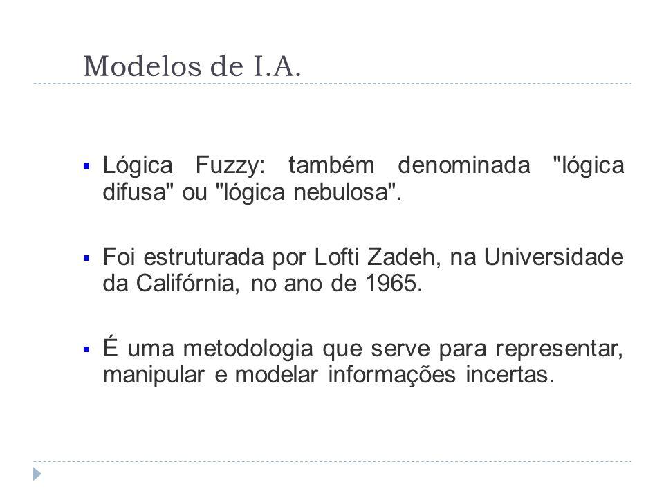 Modelos de I.A.Lógica Fuzzy: também denominada lógica difusa ou lógica nebulosa .