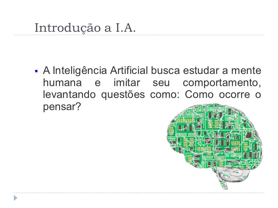 Introdução a I.A. A Inteligência Artificial busca estudar a mente humana e imitar seu comportamento, levantando questões como: Como ocorre o pensar?