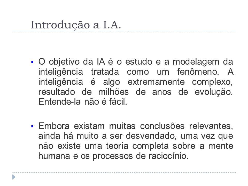 Introdução a I.A. O objetivo da IA é o estudo e a modelagem da inteligência tratada como um fenômeno. A inteligência é algo extremamente complexo, res