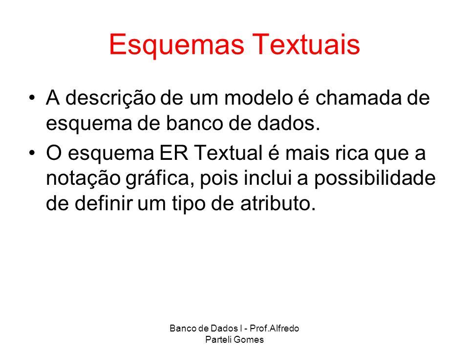 Banco de Dados I - Prof.Alfredo Parteli Gomes Esquemas Textuais A descrição de um modelo é chamada de esquema de banco de dados. O esquema ER Textual