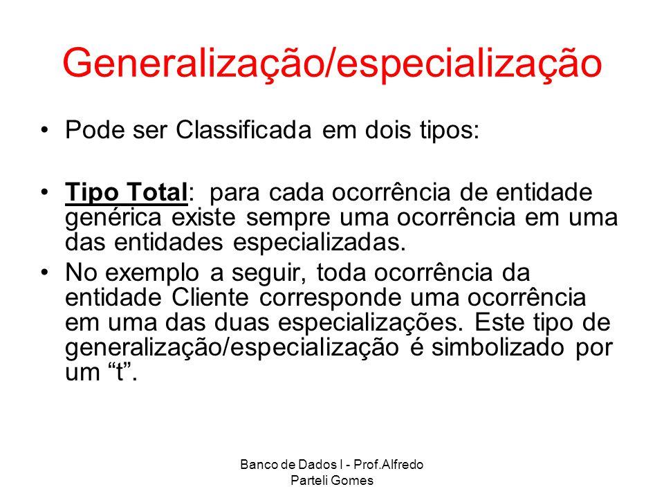 Banco de Dados I - Prof.Alfredo Parteli Gomes Generalização/especialização Pode ser Classificada em dois tipos: Tipo Total: para cada ocorrência de en