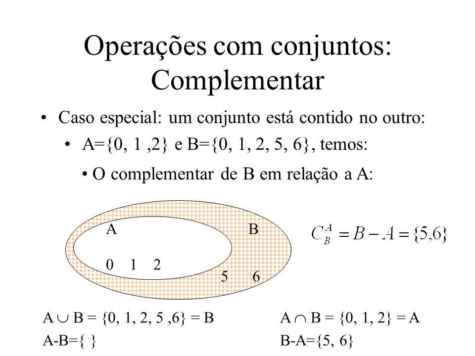 Operações com conjuntos: Complementar Caso especial: um conjunto está contido no outro: A={0, 1,2} e B={0, 1, 2, 5, 6}, temos: AB 0 1 2 5 6 O complementar de B em relação a A: A B = {0, 1, 2, 5,6} = BA B = {0, 1, 2} = A A-B={ }B-A={5, 6}