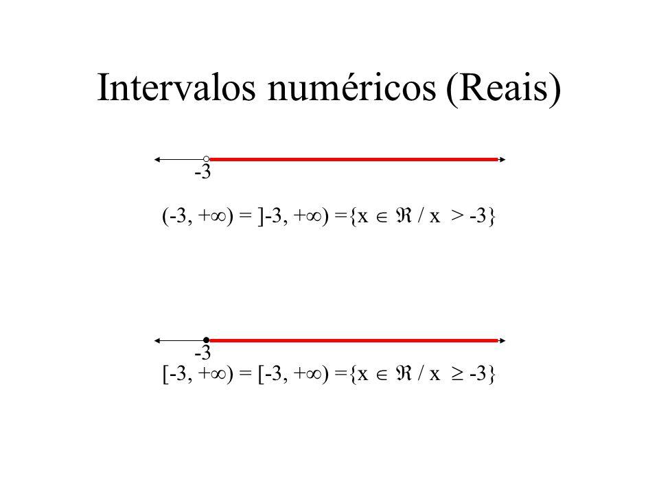 -3 Intervalos numéricos (Reais) (-3, + ) = ]-3, + ) ={x / x > -3} [-3, + ) = [-3, + ) ={x / x -3} -3