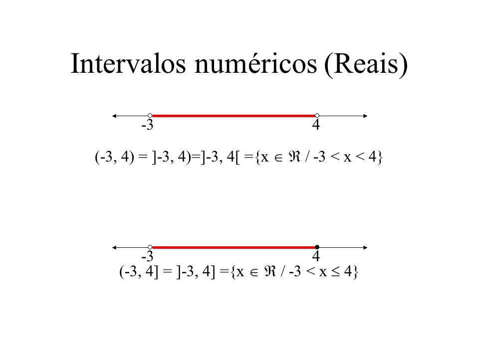 4 Intervalos numéricos (Reais) (-3, 4) = ]-3, 4)=]-3, 4[ ={x / -3 < x < 4} (-3, 4] = ]-3, 4] ={x / -3 < x 4} -3 4