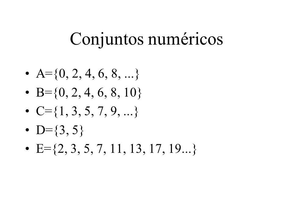 Conjuntos numéricos A={0, 2, 4, 6, 8,...} B={0, 2, 4, 6, 8, 10} C={1, 3, 5, 7, 9,...} D={3, 5} E={2, 3, 5, 7, 11, 13, 17, 19...}