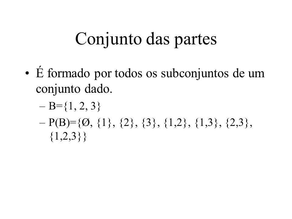 Conjunto das partes É formado por todos os subconjuntos de um conjunto dado. –B={1, 2, 3} –P(B)={Ø, {1}, {2}, {3}, {1,2}, {1,3}, {2,3}, {1,2,3}}