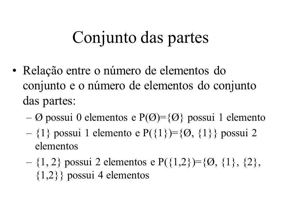 Conjunto das partes Relação entre o número de elementos do conjunto e o número de elementos do conjunto das partes: –Ø possui 0 elementos e P(Ø)={Ø} possui 1 elemento –{1} possui 1 elemento e P({1})={Ø, {1}} possui 2 elementos –{1, 2} possui 2 elementos e P({1,2})={Ø, {1}, {2}, {1,2}} possui 4 elementos