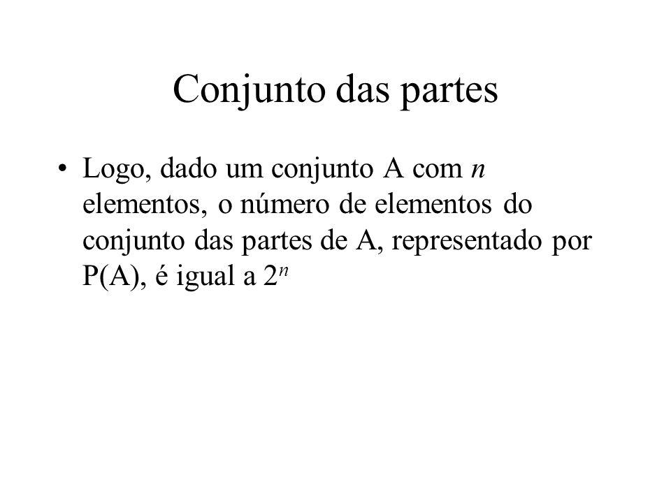 Conjunto das partes Logo, dado um conjunto A com n elementos, o número de elementos do conjunto das partes de A, representado por P(A), é igual a 2 n