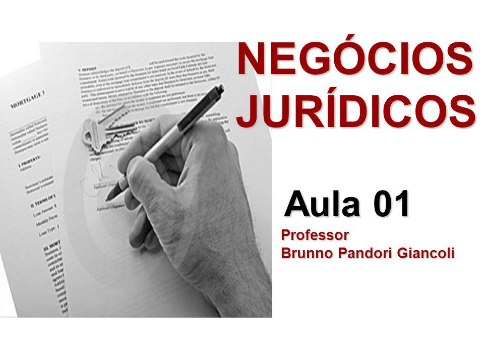 NEGÓCIOS JURÍDICOS Aula 01 Professor Brunno Pandori Giancoli