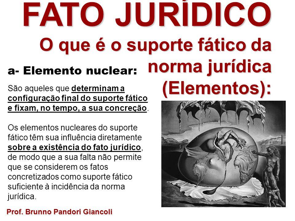 FATO JURÍDICO O que é o suporte fático da norma jurídica O que é o suporte fático da norma jurídica(Elementos): a- Elemento nuclear: São aqueles que d