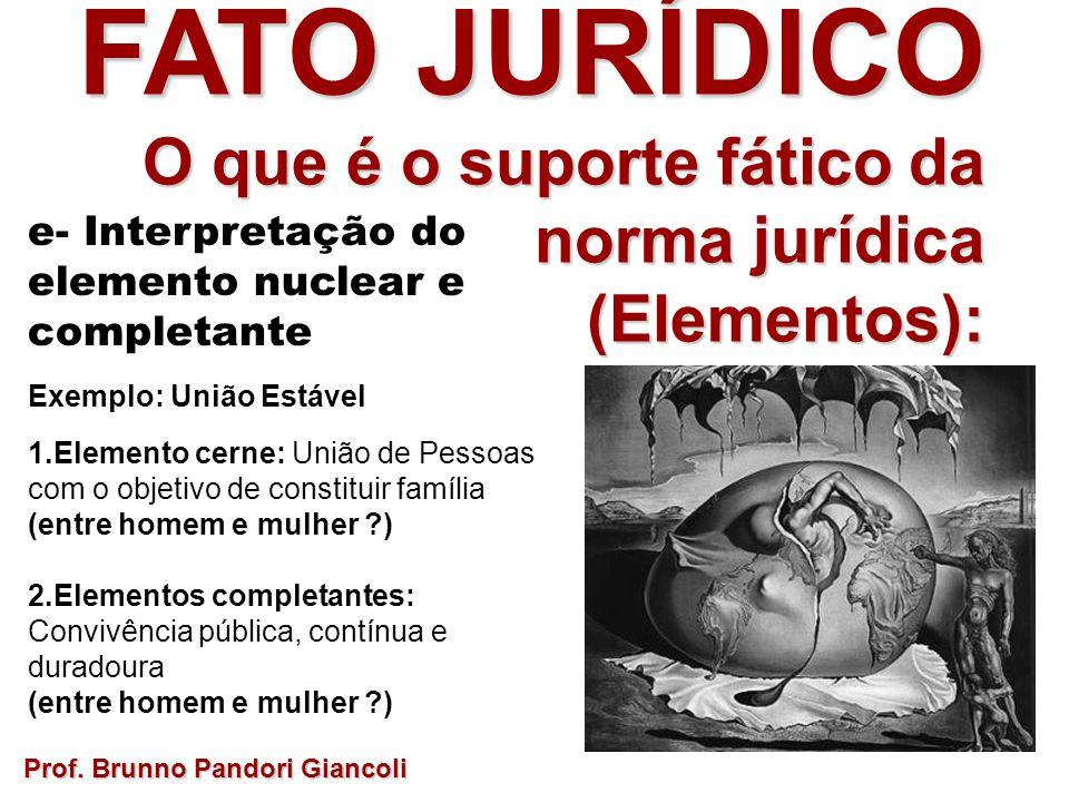 FATO JURÍDICO O que é o suporte fático da norma jurídica O que é o suporte fático da norma jurídica(Elementos): e- Interpretação do elemento nuclear e