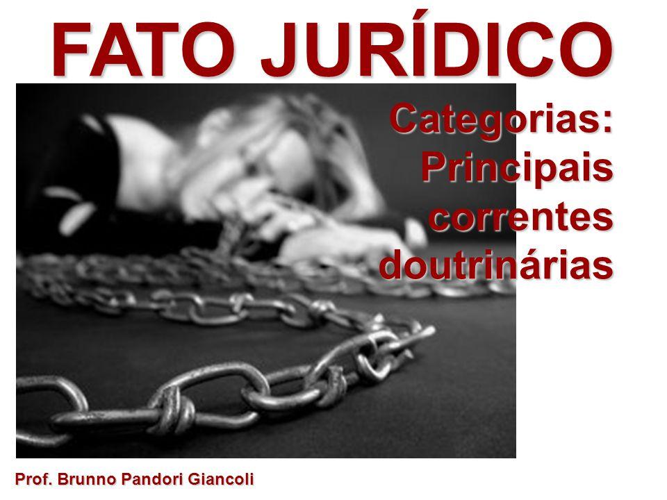 FATO JURÍDICO Categorias: Categorias:Principaiscorrentesdoutrinárias Prof. Brunno Pandori Giancoli