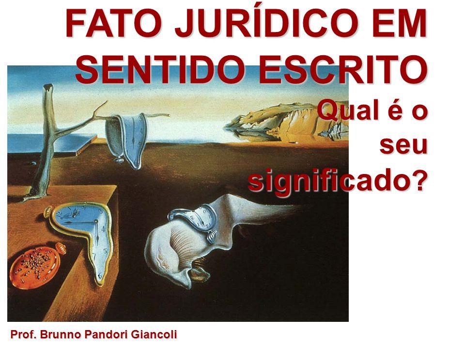 FATO JURÍDICO EM SENTIDO ESCRITO Qual é o Qual é oseu significado ? Prof. Brunno Pandori Giancoli