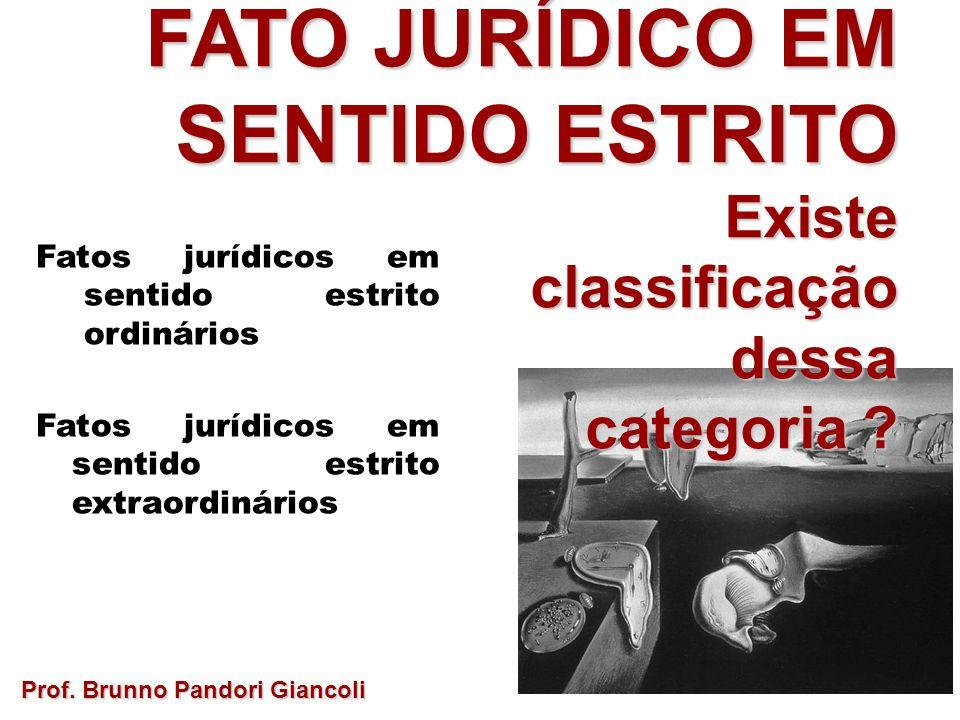 FATO JURÍDICO EM SENTIDO ESTRITO Existeclassificaçãodessa categoria ? Prof. Brunno Pandori Giancoli Fatos jurídicos em sentido estrito ordinários Fato