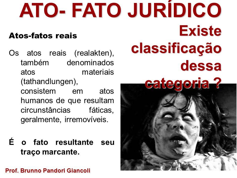 ATO- FATO JURÍDICO Existe Existeclassificaçãodessa categoria ? Prof. Brunno Pandori Giancoli Atos-fatos reais Os atos reais (realakten), também denomi