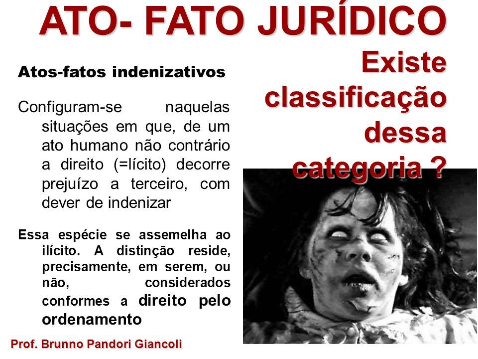 ATO- FATO JURÍDICO Existe Existeclassificaçãodessa categoria ? Prof. Brunno Pandori Giancoli Atos-fatos indenizativos Configuram-se naquelas situações