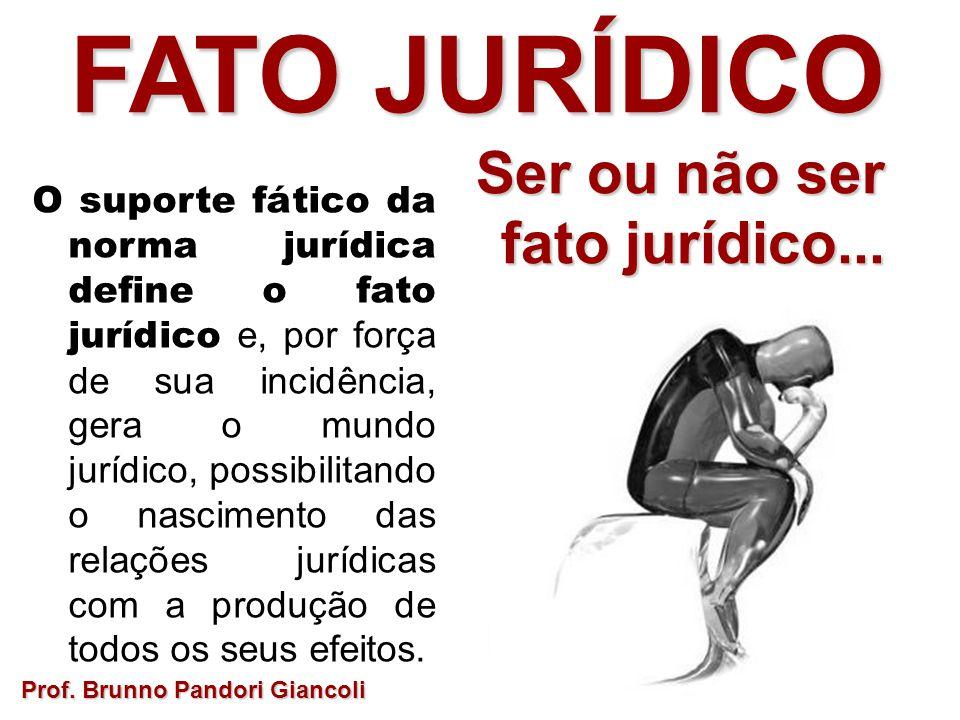 FATO JURÍDICO Ser ou não ser Ser ou não ser fato jurídico... O suporte fático da norma jurídica define o fato jurídico e, por força de sua incidência,