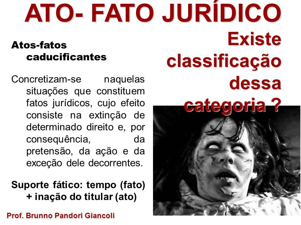 ATO- FATO JURÍDICO Existe Existeclassificaçãodessa categoria ? Prof. Brunno Pandori Giancoli Atos-fatos caducificantes Concretizam-se naquelas situaçõ