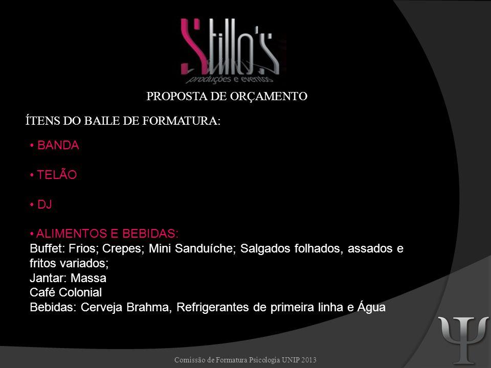 Comissão de Formatura Psicologia UNIP 2013 SHOW BAR Bar personalizado, bartenders, saquê Azuma Kirin, Vodka Smirnoff, Cachaça Sagatiba, Mix de Limão, 03 frutas da época.