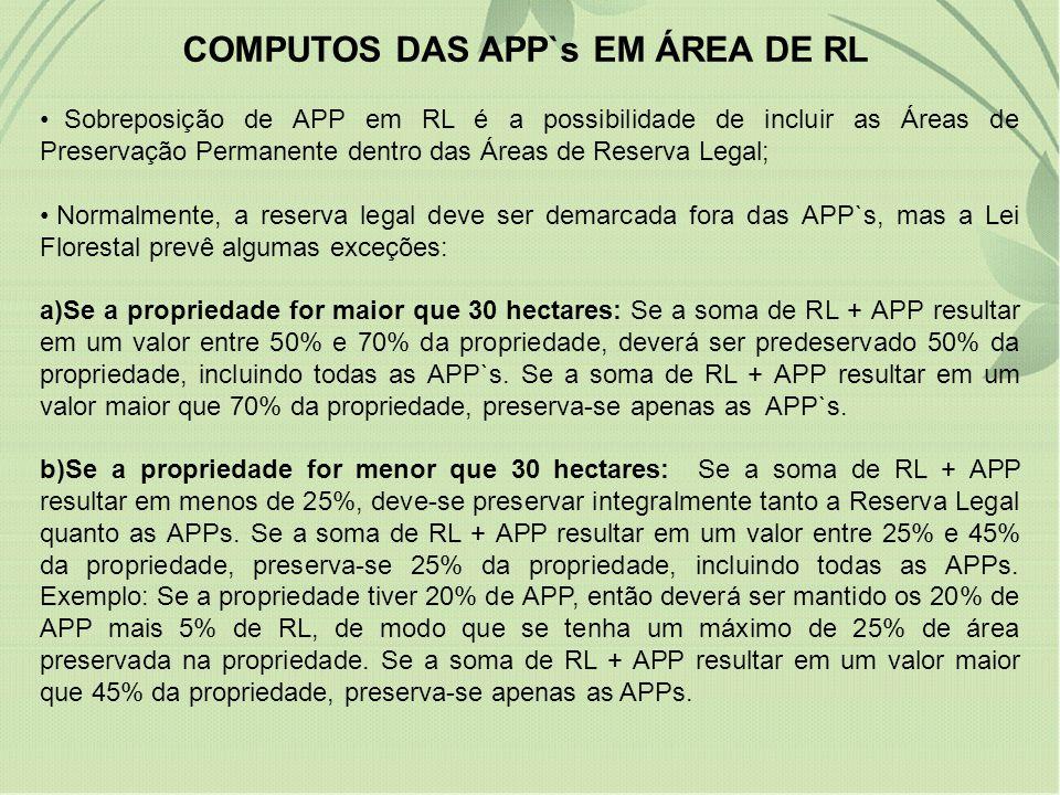 COMPUTOS DAS APP`s EM ÁREA DE RL Sobreposição de APP em RL é a possibilidade de incluir as Áreas de Preservação Permanente dentro das Áreas de Reserva