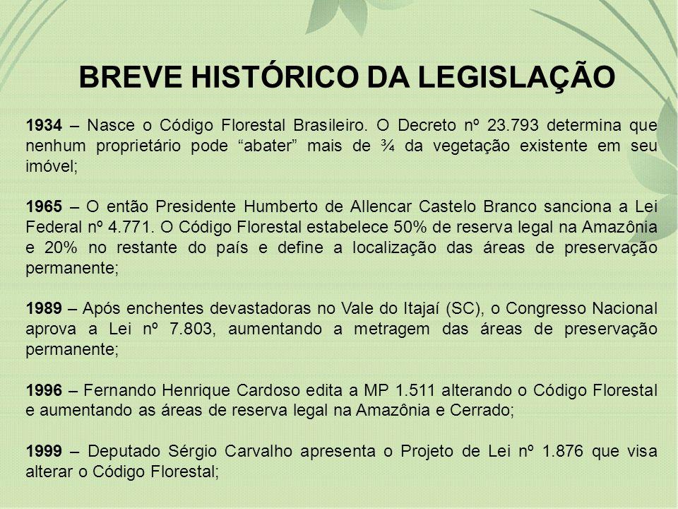 BREVE HISTÓRICO DA LEGISLAÇÃO 1934 – Nasce o Código Florestal Brasileiro. O Decreto nº 23.793 determina que nenhum proprietário pode abater mais de ¾
