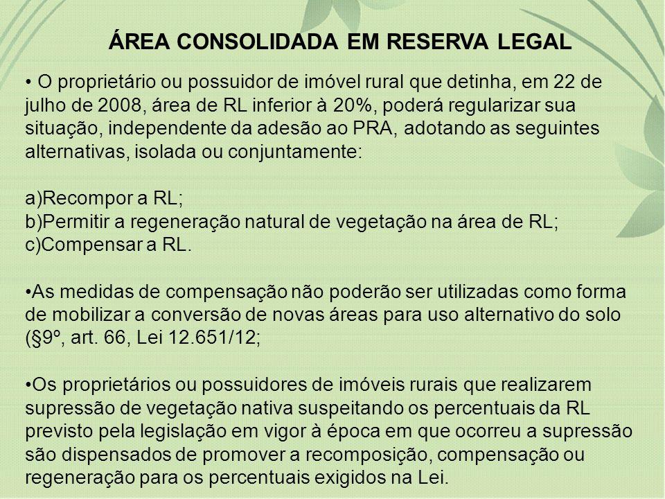 ÁREA CONSOLIDADA EM RESERVA LEGAL O proprietário ou possuidor de imóvel rural que detinha, em 22 de julho de 2008, área de RL inferior à 20%, poderá r