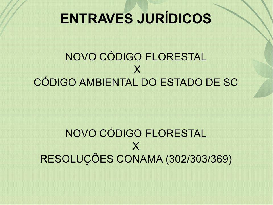 ENTRAVES JURÍDICOS NOVO CÓDIGO FLORESTAL X CÓDIGO AMBIENTAL DO ESTADO DE SC NOVO CÓDIGO FLORESTAL X RESOLUÇÕES CONAMA (302/303/369)