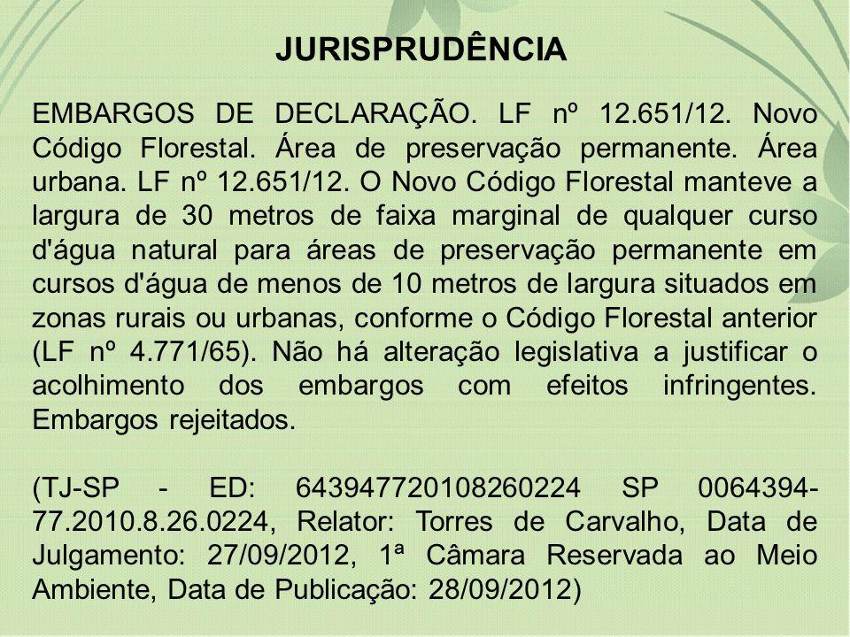 JURISPRUDÊNCIA EMBARGOS DE DECLARAÇÃO. LF nº 12.651/12. Novo Código Florestal. Área de preservação permanente. Área urbana. LF nº 12.651/12. O Novo Có