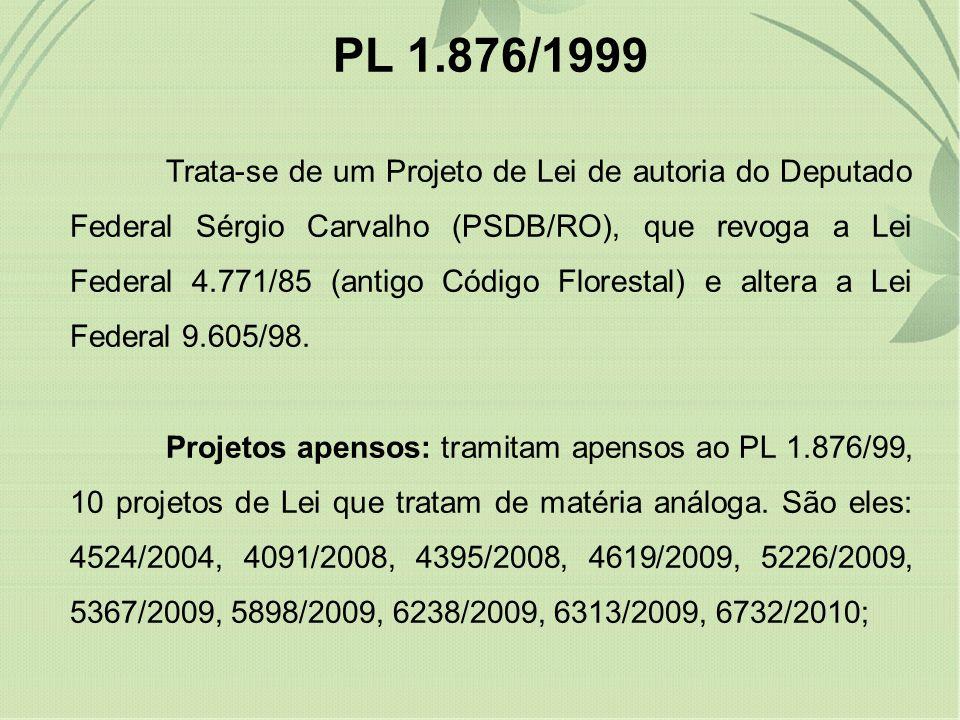 PL 1.876/1999 Trata-se de um Projeto de Lei de autoria do Deputado Federal Sérgio Carvalho (PSDB/RO), que revoga a Lei Federal 4.771/85 (antigo Código