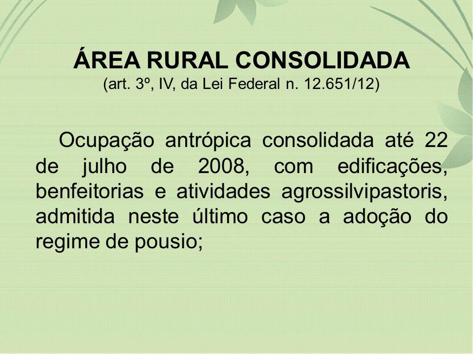 ÁREA RURAL CONSOLIDADA (art. 3º, IV, da Lei Federal n. 12.651/12) Ocupação antrópica consolidada até 22 de julho de 2008, com edificações, benfeitoria