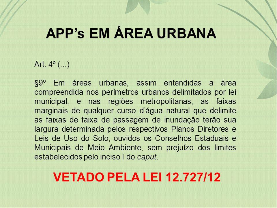 APPs EM ÁREA URBANA Art. 4º (...) §9º Em áreas urbanas, assim entendidas a área compreendida nos perímetros urbanos delimitados por lei municipal, e n