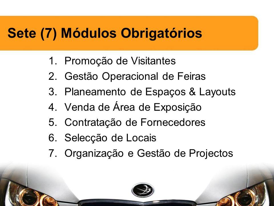 Sete (7) Módulos Obrigatórios 1.Promoção de Visitantes 2.Gestão Operacional de Feiras 3.Planeamento de Espaços & Layouts 4.Venda de Área de Exposição 5.Contratação de Fornecedores 6.Selecção de Locais 7.Organização e Gestão de Projectos