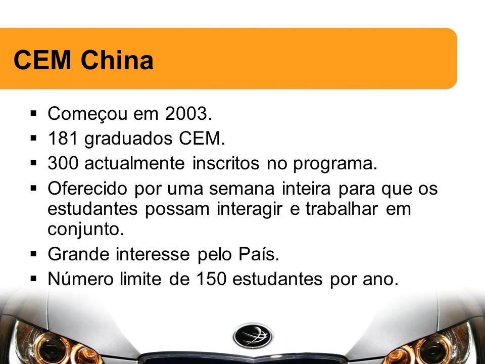 CEM China Começou em 2003. 181 graduados CEM. 300 actualmente inscritos no programa.
