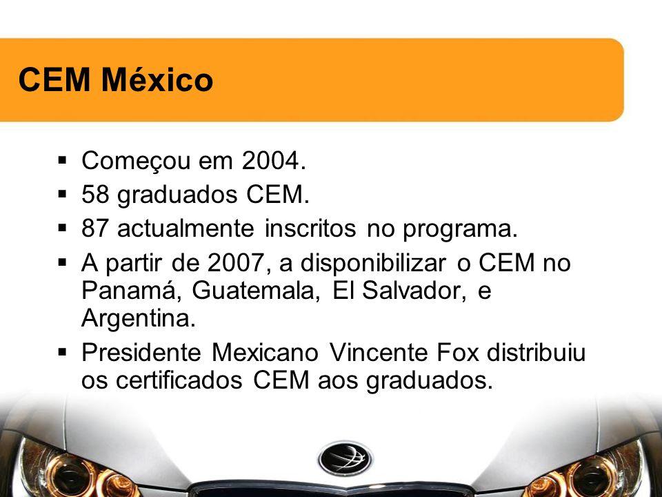 CEM México Começou em 2004. 58 graduados CEM. 87 actualmente inscritos no programa.