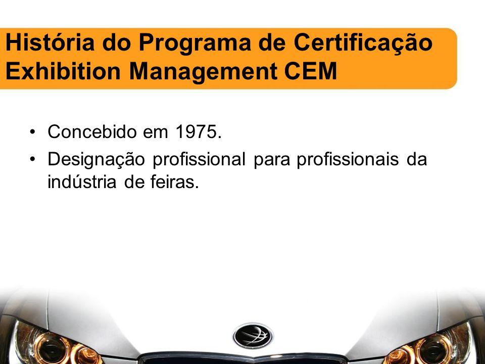 Concebido em 1975. Designação profissional para profissionais da indústria de feiras.