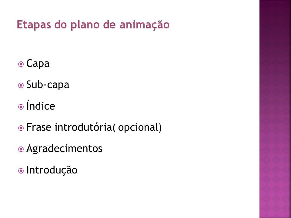 CAPITULO I Caracterização institucional caracterização do local onde estudam; caracterização da instituição que pretendem implementar o plano de animação; Contextualização teórica Etapas do plano de animação