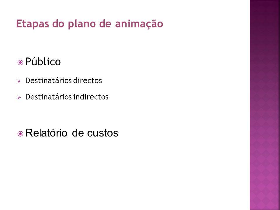 Público Destinatários directos Destinatários indirectos Relatório de custos Etapas do plano de animação