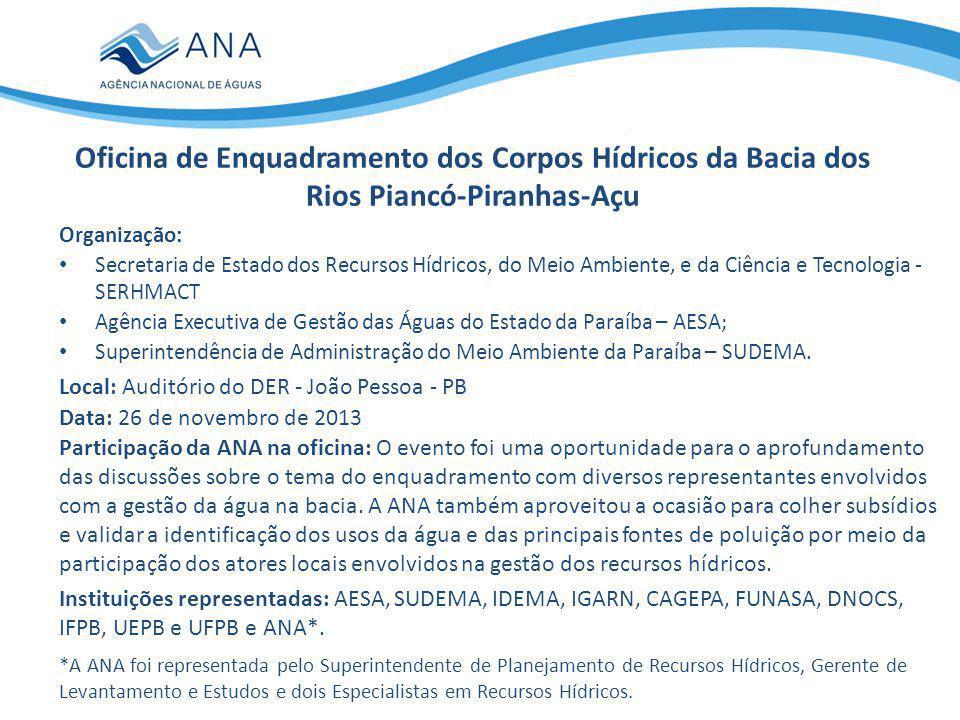 Oficina de Enquadramento dos Corpos Hídricos da Bacia dos Rios Piancó-Piranhas-Açu Participação da ANA na oficina: O evento foi uma oportunidade para o aprofundamento das discussões sobre o tema do enquadramento com diversos representantes envolvidos com a gestão da água na bacia.