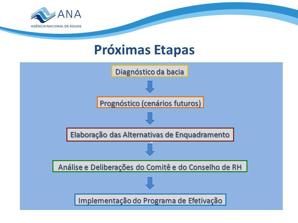 Próximas Etapas IMAGEM s Diagnóstico da bacia Prognóstico (cenários futuros) Elaboração das Alternativas de Enquadramento Análise e Deliberações do Comitê e do Conselho de RH Implementação do Programa de Efetivação