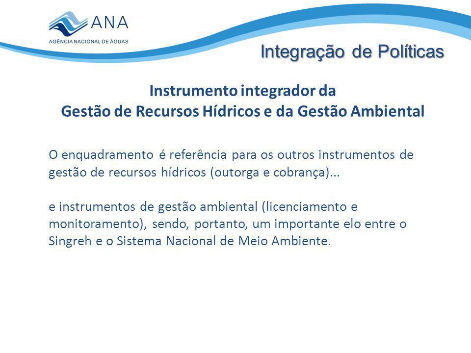 Instrumento integrador da Gestão de Recursos Hídricos e da Gestão Ambiental Integração de Políticas O enquadramento é referência para os outros instrumentos de gestão de recursos hídricos (outorga e cobrança)...