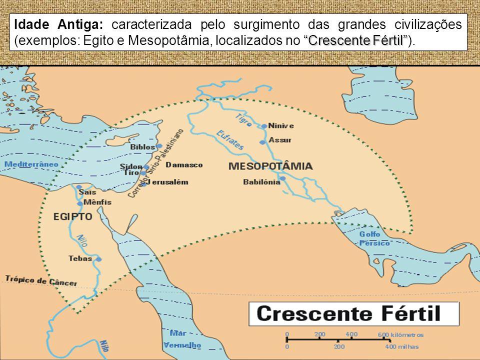 Crescente Fértil Idade Antiga: caracterizada pelo surgimento das grandes civilizações (exemplos: Egito e Mesopotâmia, localizados no Crescente Fértil)