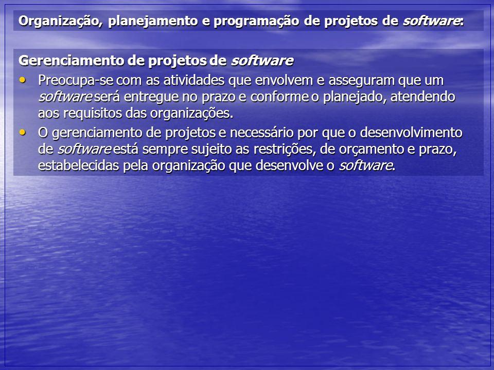 Organização, planejamento e programação de projetos de software: Gerenciamento de projetos de software Preocupa-se com as atividades que envolvem e as