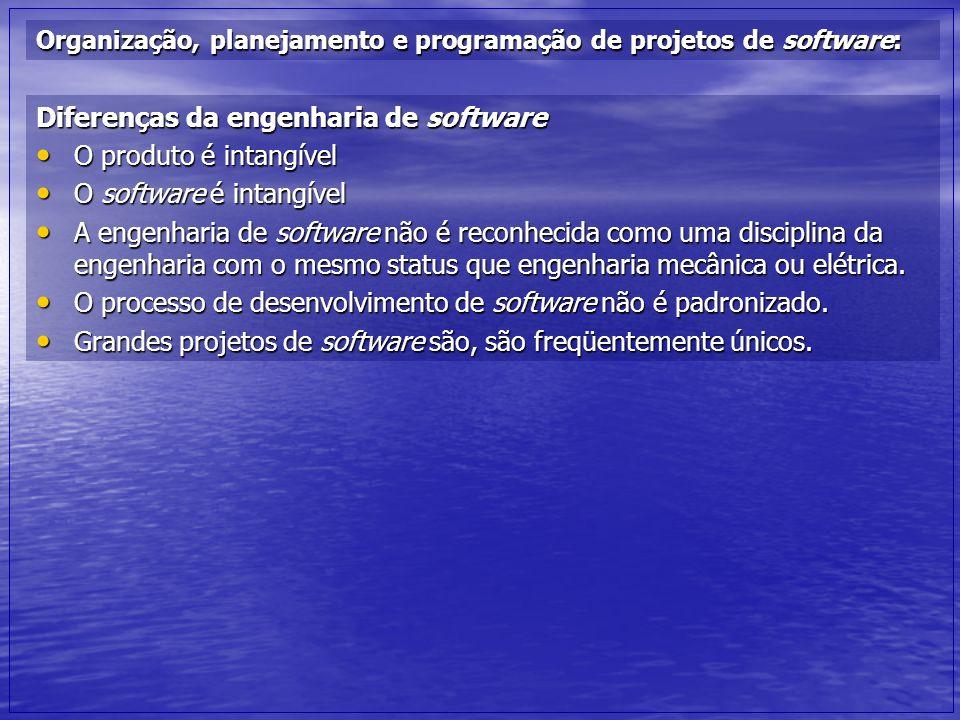 Organização, planejamento e programação de projetos de software: Diferenças da engenharia de software O produto é intangível O produto é intangível O