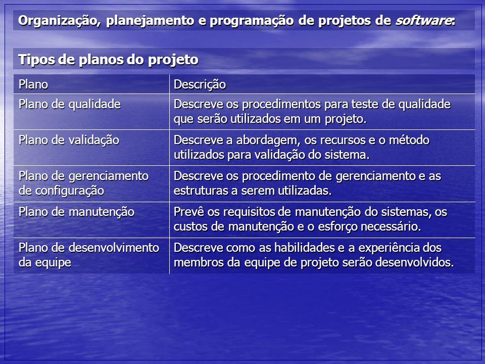 Organização, planejamento e programação de projetos de software: Tipos de planos do projeto Descreve como as habilidades e a experiência dos membros d