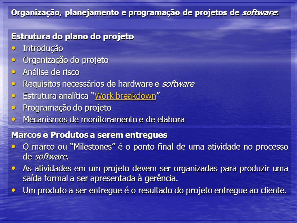 Organização, planejamento e programação de projetos de software: Estrutura do plano do projeto Introdução Introdução Organização do projeto Organizaçã