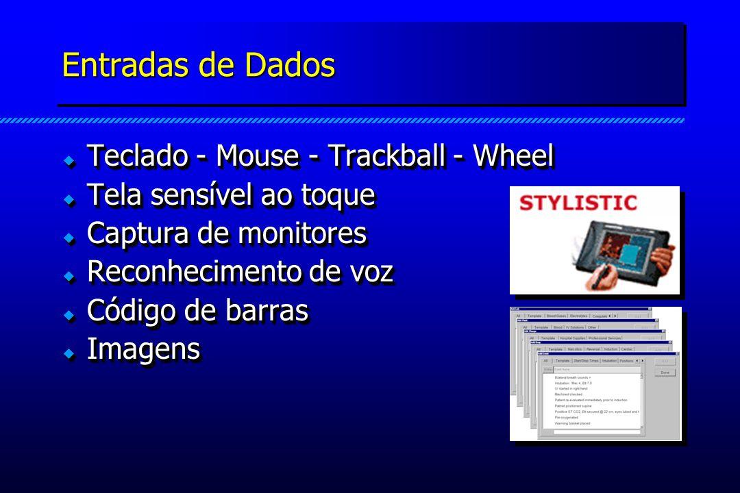 Entradas de Dados Teclado - Mouse - Trackball - Wheel Teclado - Mouse - Trackball - Wheel Tela sensível ao toque Tela sensível ao toque Captura de monitores Captura de monitores Reconhecimento de voz Reconhecimento de voz Código de barras Código de barras Imagens Imagens Teclado - Mouse - Trackball - Wheel Teclado - Mouse - Trackball - Wheel Tela sensível ao toque Tela sensível ao toque Captura de monitores Captura de monitores Reconhecimento de voz Reconhecimento de voz Código de barras Código de barras Imagens Imagens