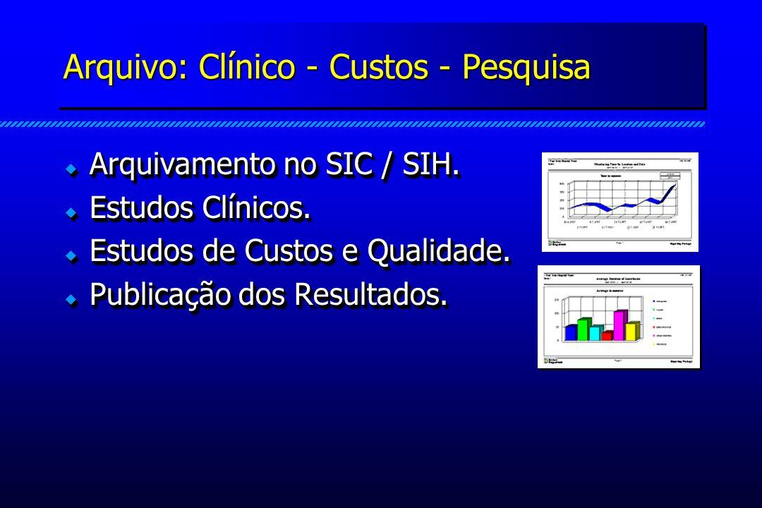 Arquivo: Clínico - Custos - Pesquisa Arquivamento no SIC / SIH. Arquivamento no SIC / SIH. Estudos Clínicos. Estudos Clínicos. Estudos de Custos e Qua