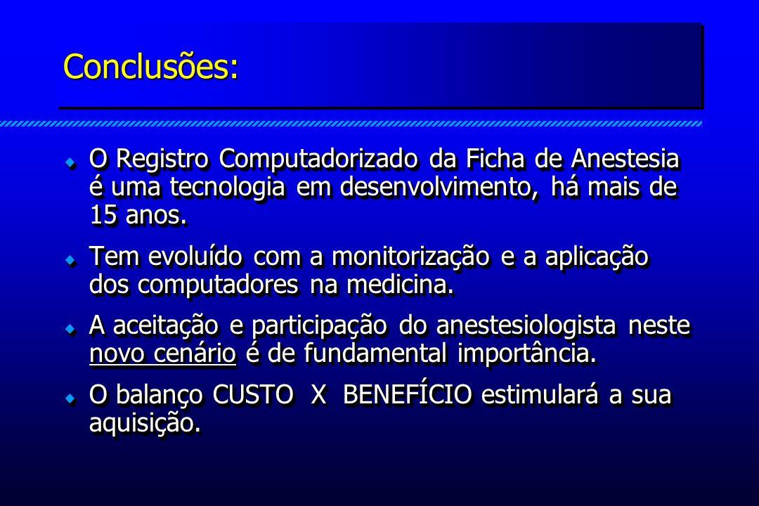 Conclusões:Conclusões: O Registro Computadorizado da Ficha de Anestesia é uma tecnologia em desenvolvimento, há mais de 15 anos. O Registro Computador