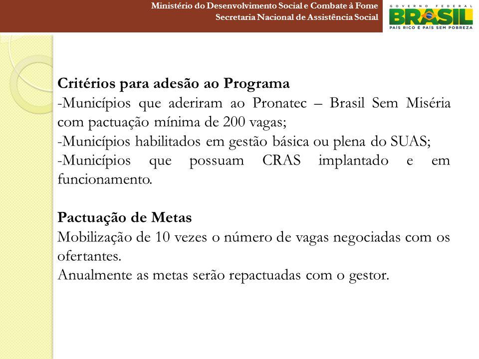 Critérios para adesão ao Programa -Municípios que aderiram ao Pronatec – Brasil Sem Miséria com pactuação mínima de 200 vagas; -Municípios habilitados